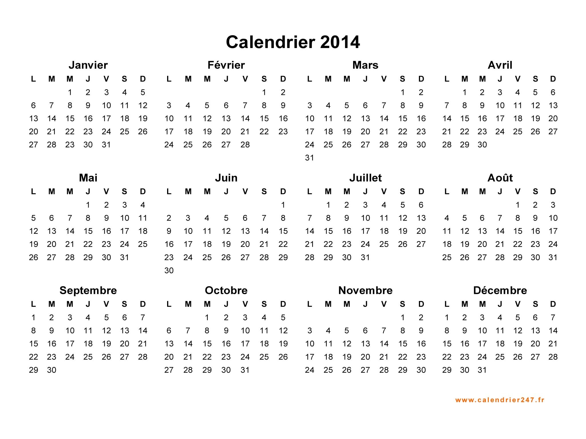 Calendrier 2014 A Imprimer Gratuit En PDF Et Excel