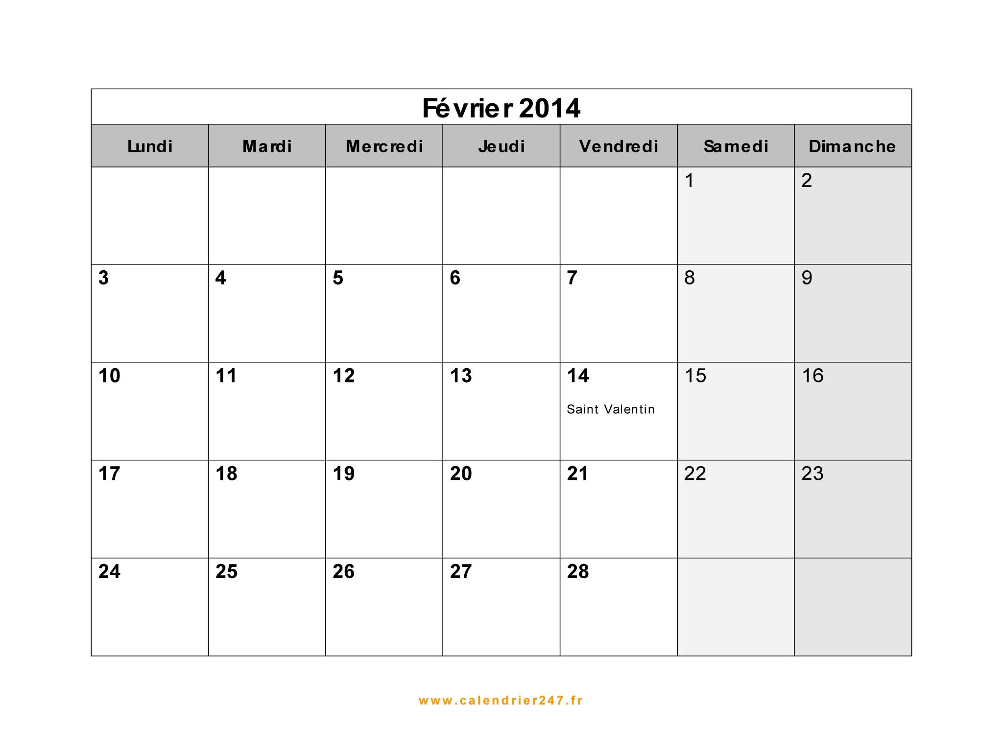 Fevrier Calendrier.Calendrier Fevrier 2014 A Imprimer Gratuit En Pdf Et Excel