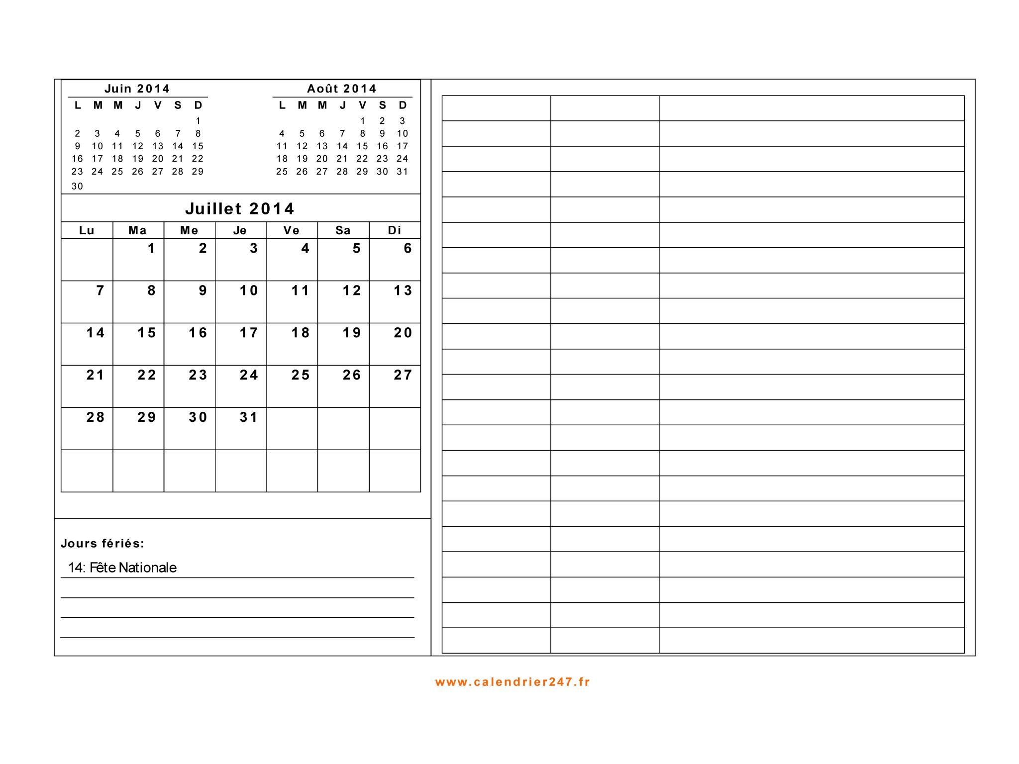 Calendrier Juillet 2014 à imprimer gratuit en PDF et Excel