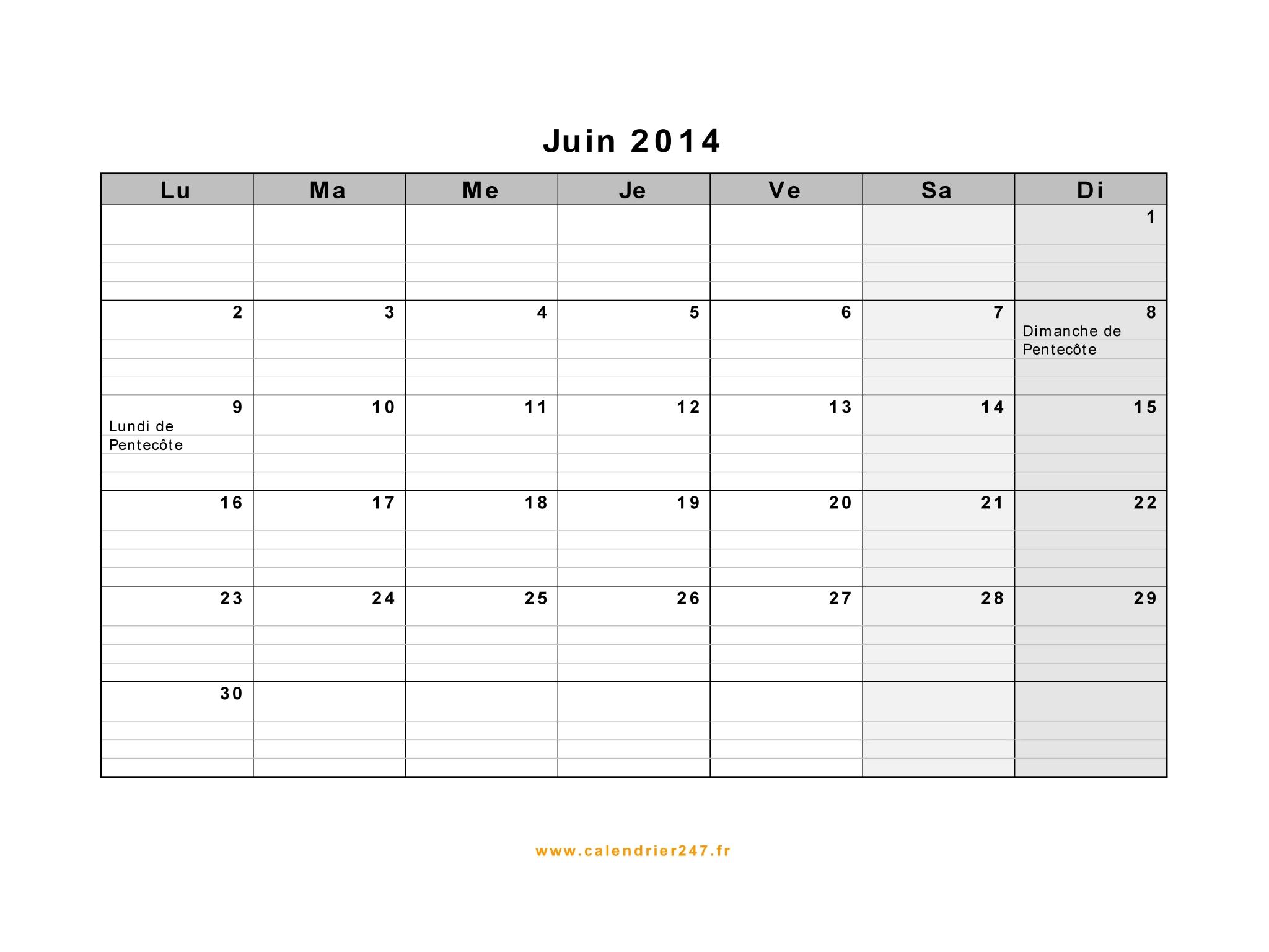 Calendrier Juin 2014 à imprimer gratuit en PDF et Excel