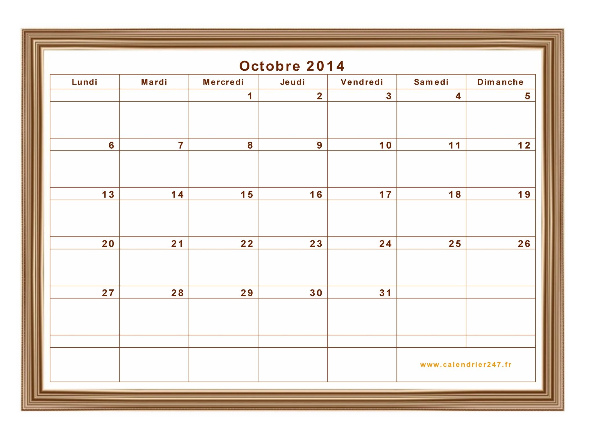 calendrier octobre 2014 224 imprimer gratuit en pdf et excel
