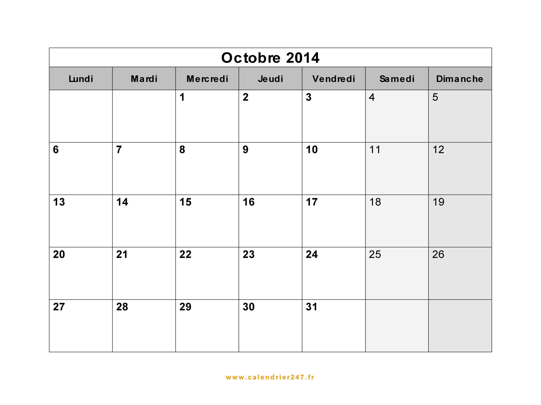 Calendrier octobre 2014 imprimer gratuit en pdf et excel - Calendrier lune octobre 2017 ...