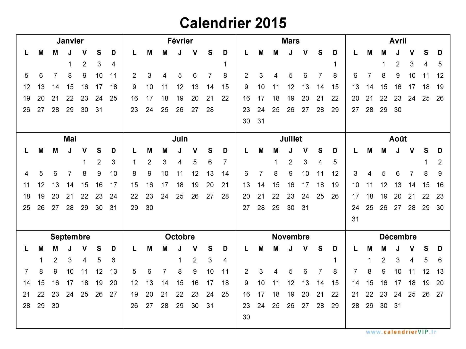 Préférence Calendrier 2015 à imprimer gratuit en PDF et Excel UX61