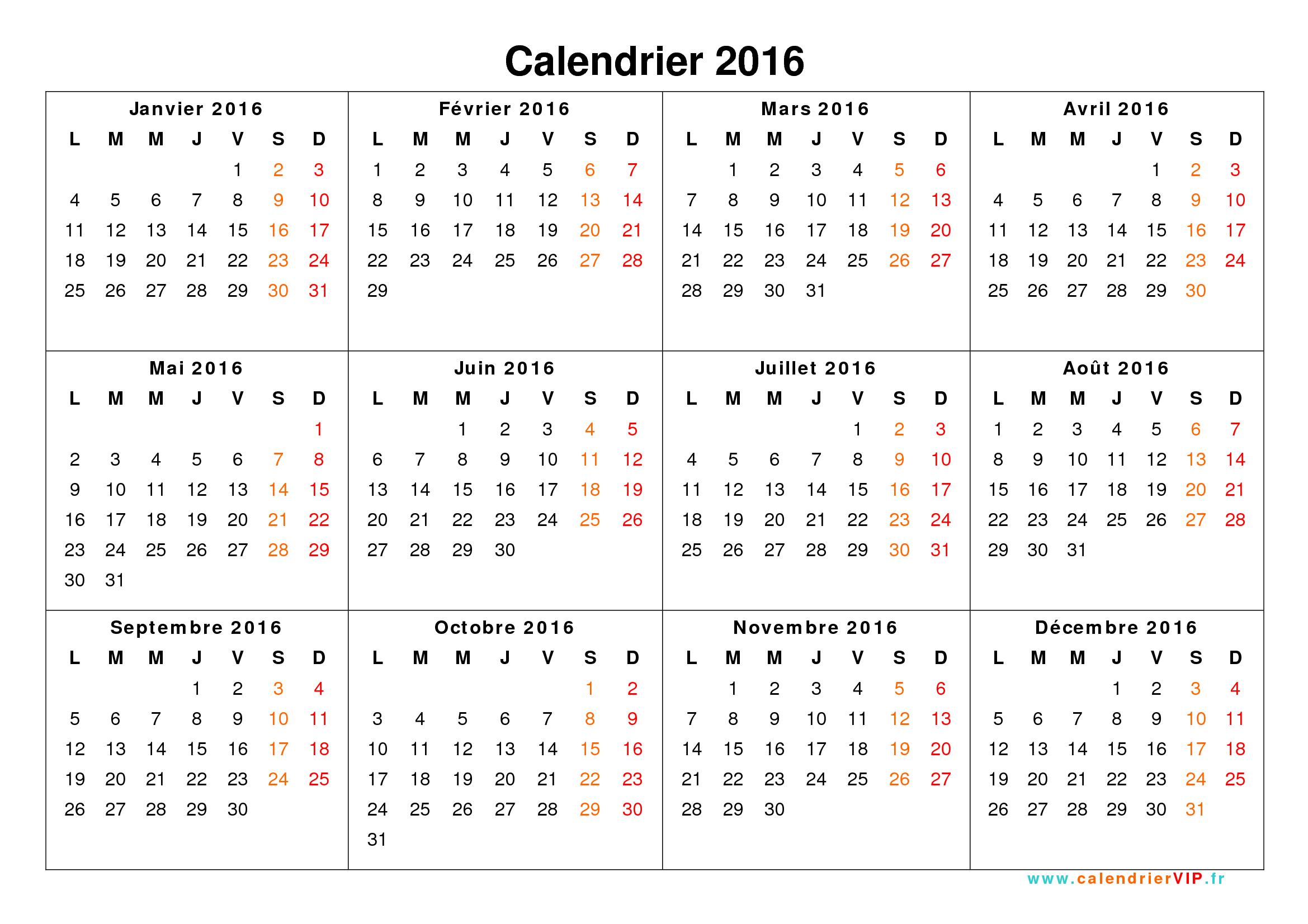Calendrier 2016 Xls | Calendar Template 2016