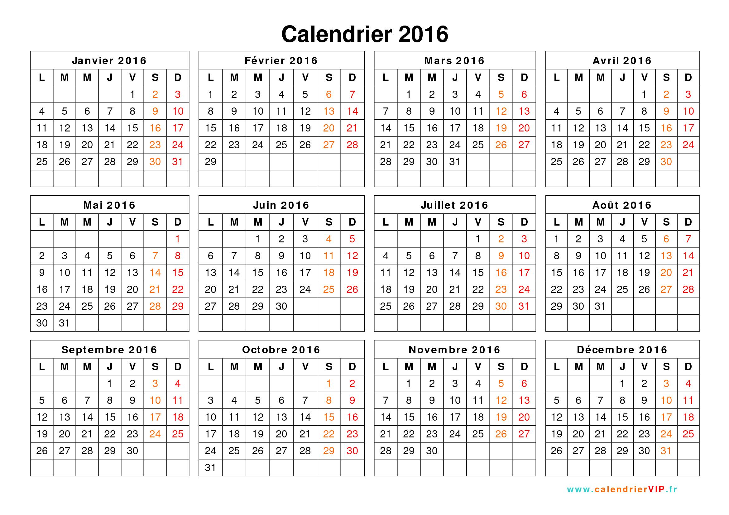 Beliebt Calendrier 2016 à imprimer gratuit en PDF et Excel JN39