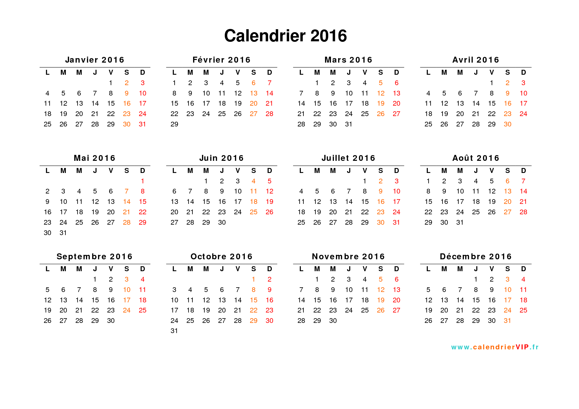Calendrier 2016 à imprimer gratuit en PDF et Excel