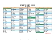 calendrier 2020 complet