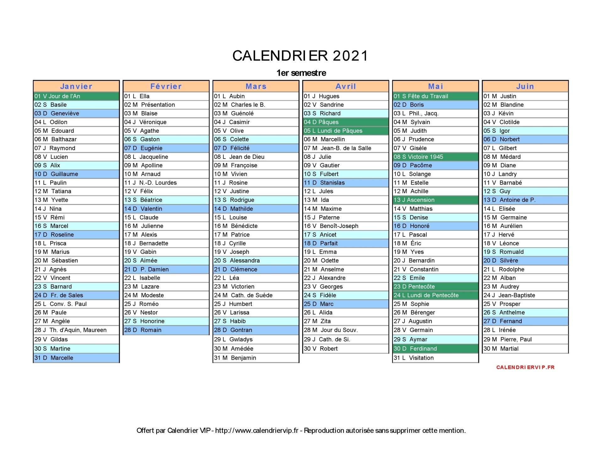 Calendrier 2021 Avec Vacances Scolaires Pdf Calendrier 2021 à imprimer gratuit en PDF et Excel