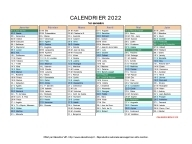 calendrier 2022 complet