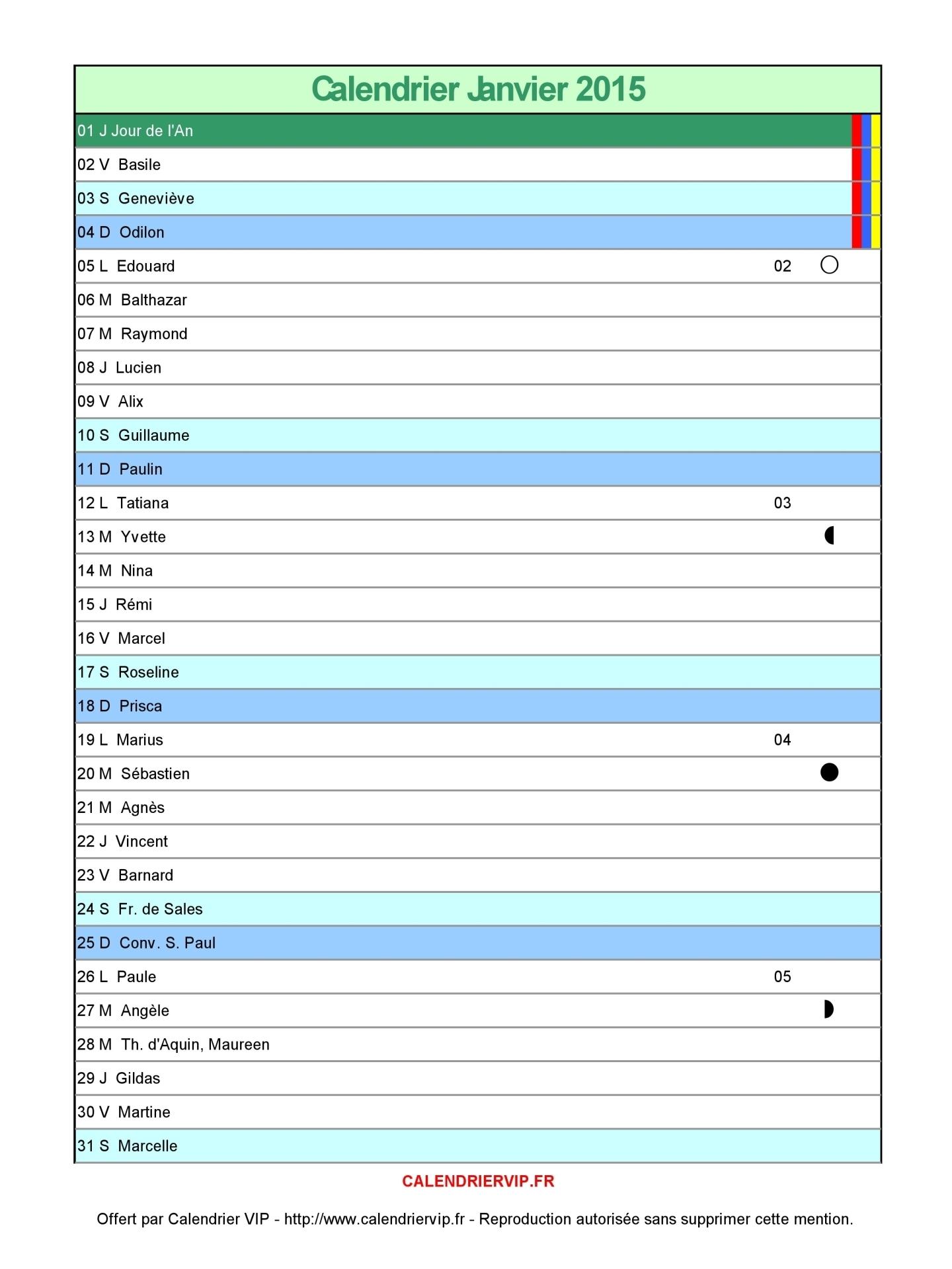 Calendrier Format Excel.Calendrier Janvier 2015 A Imprimer Gratuit En Pdf Et Excel