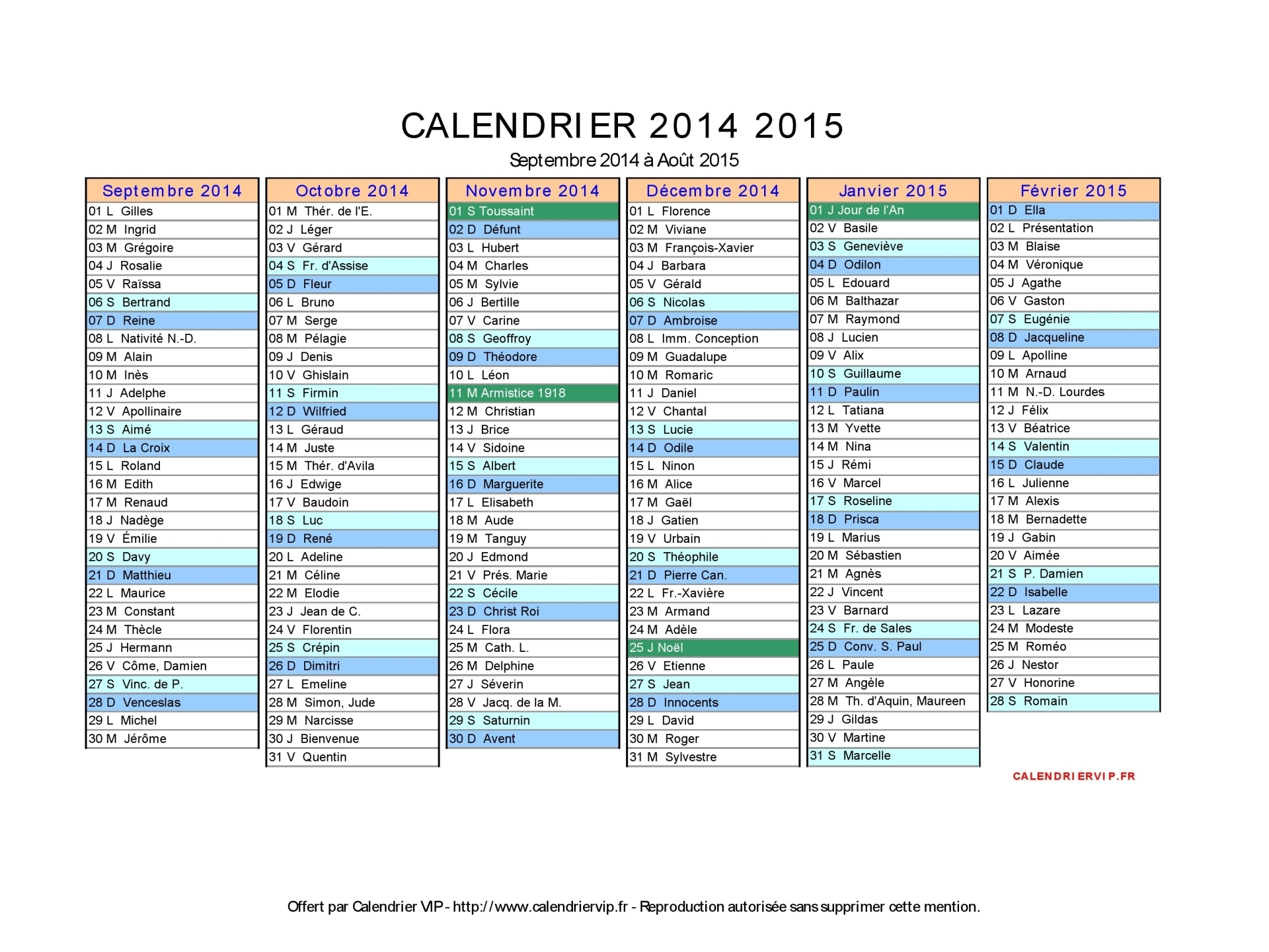 Calendrier mois 2015 excel new calendar template site - Calendrier scolaire 2014 2015 ...