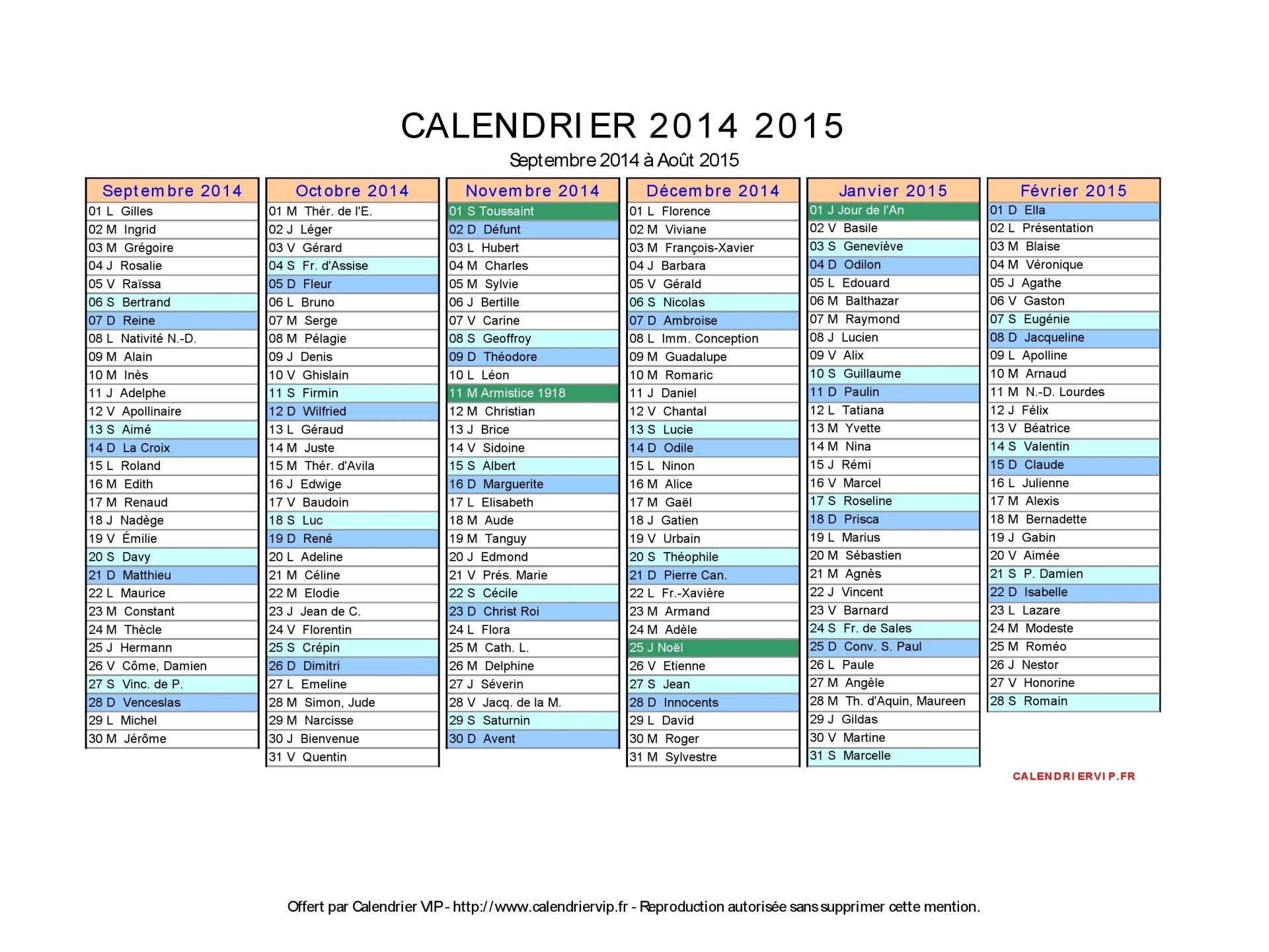 calendrier de septembre 2014 à août 2015 12 mois calendrier complet