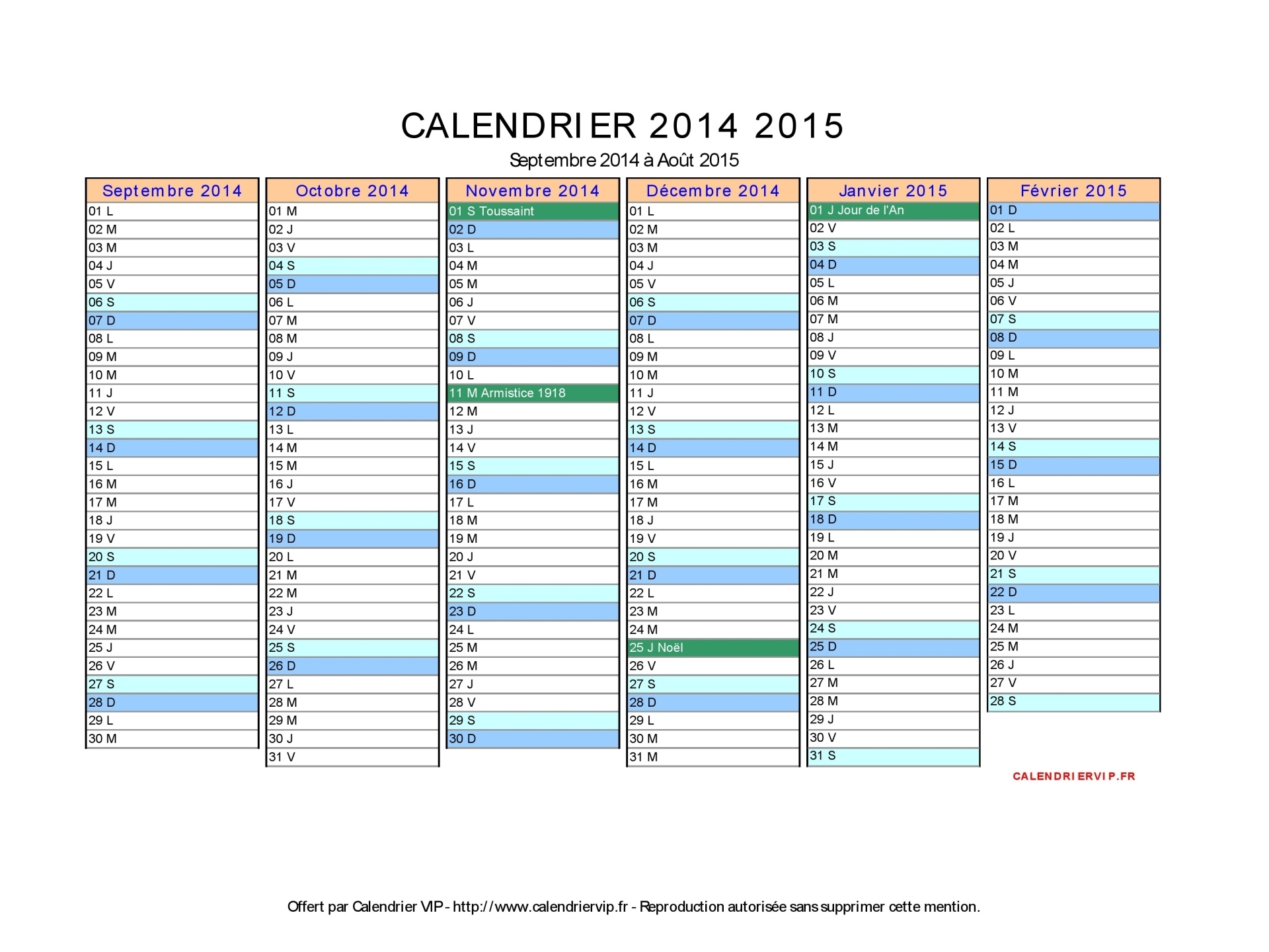 calendrier 2014 2015 imprimer gratuit en pdf et excel. Black Bedroom Furniture Sets. Home Design Ideas