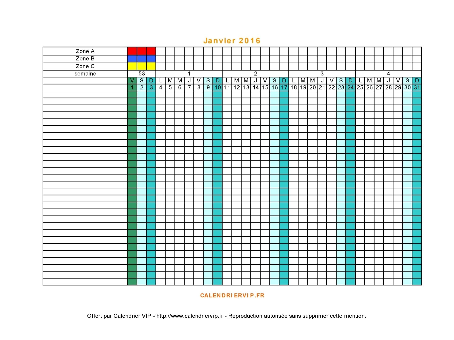 Planning 2016 à imprimer gratuit en Excel et PDF