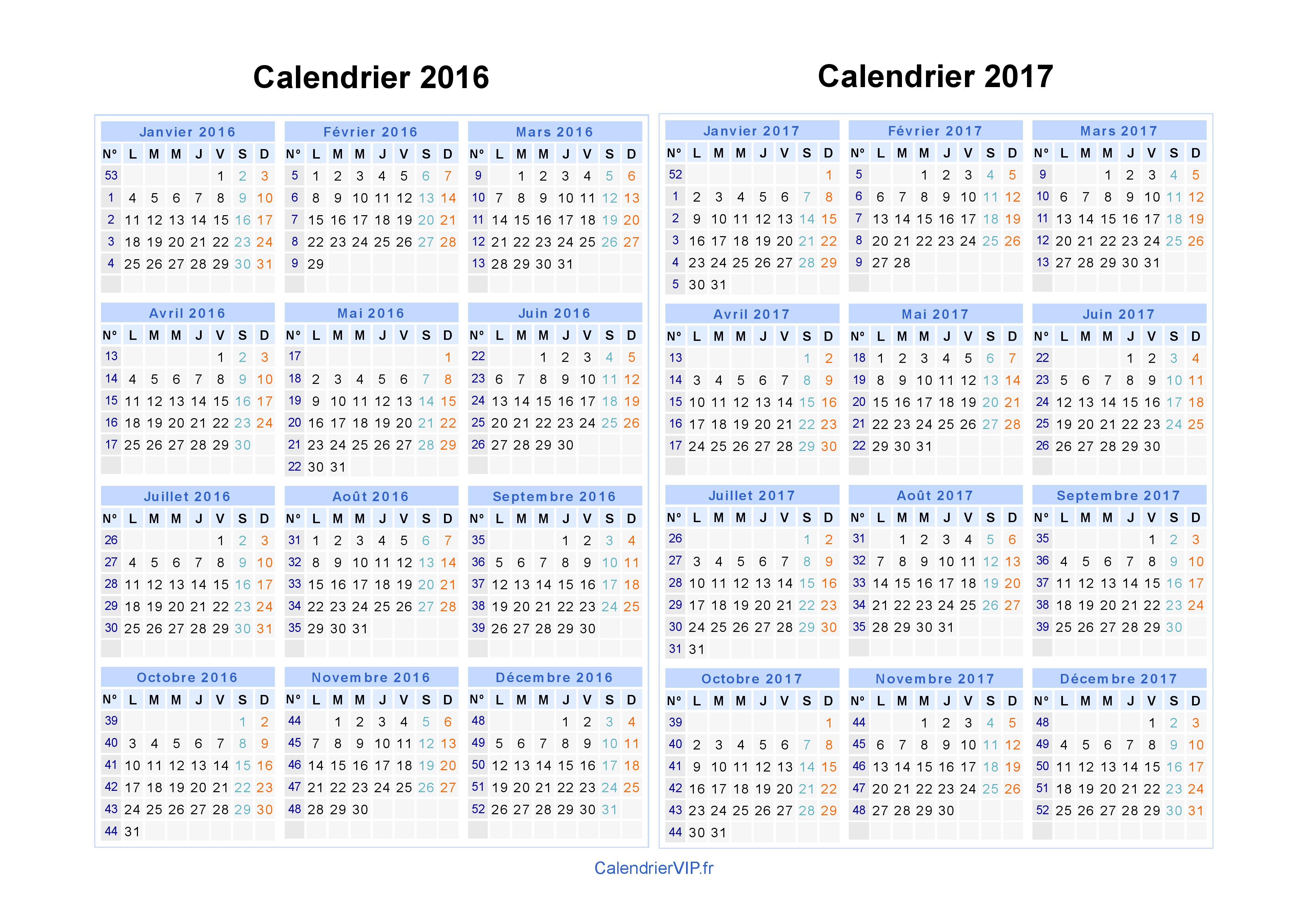 Calendrier 2016 2017 imprimer gratuit en pdf et excel - Calendrier lunaire decembre 2016 ...
