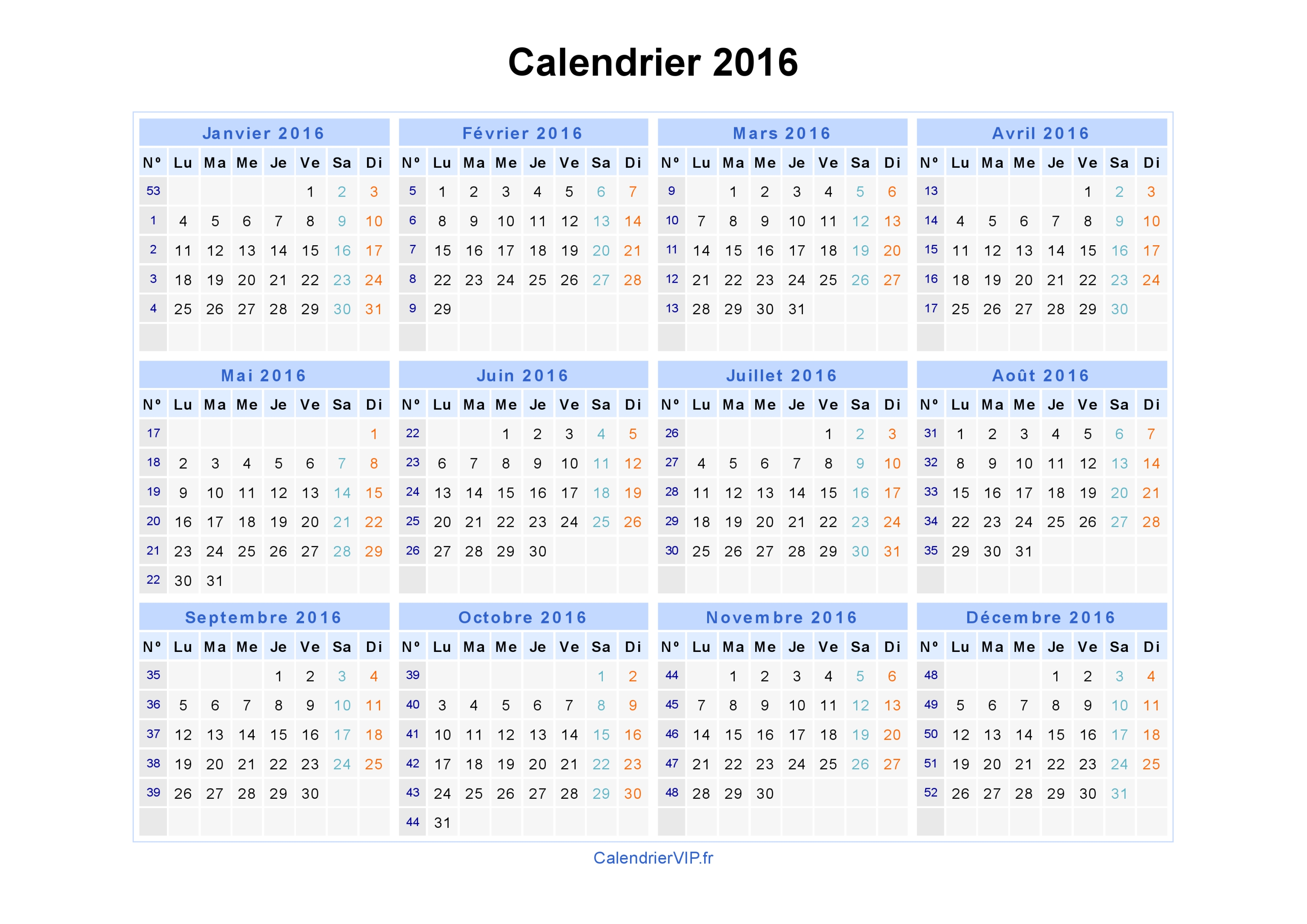 calendrier 2016 imprimer gratuit en pdf et excel. Black Bedroom Furniture Sets. Home Design Ideas