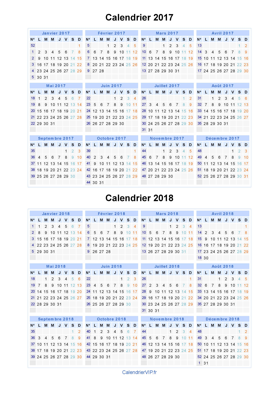 Calendrier 2017 2018 imprimer gratuit en pdf et excel - Date lune rousse 2017 ...