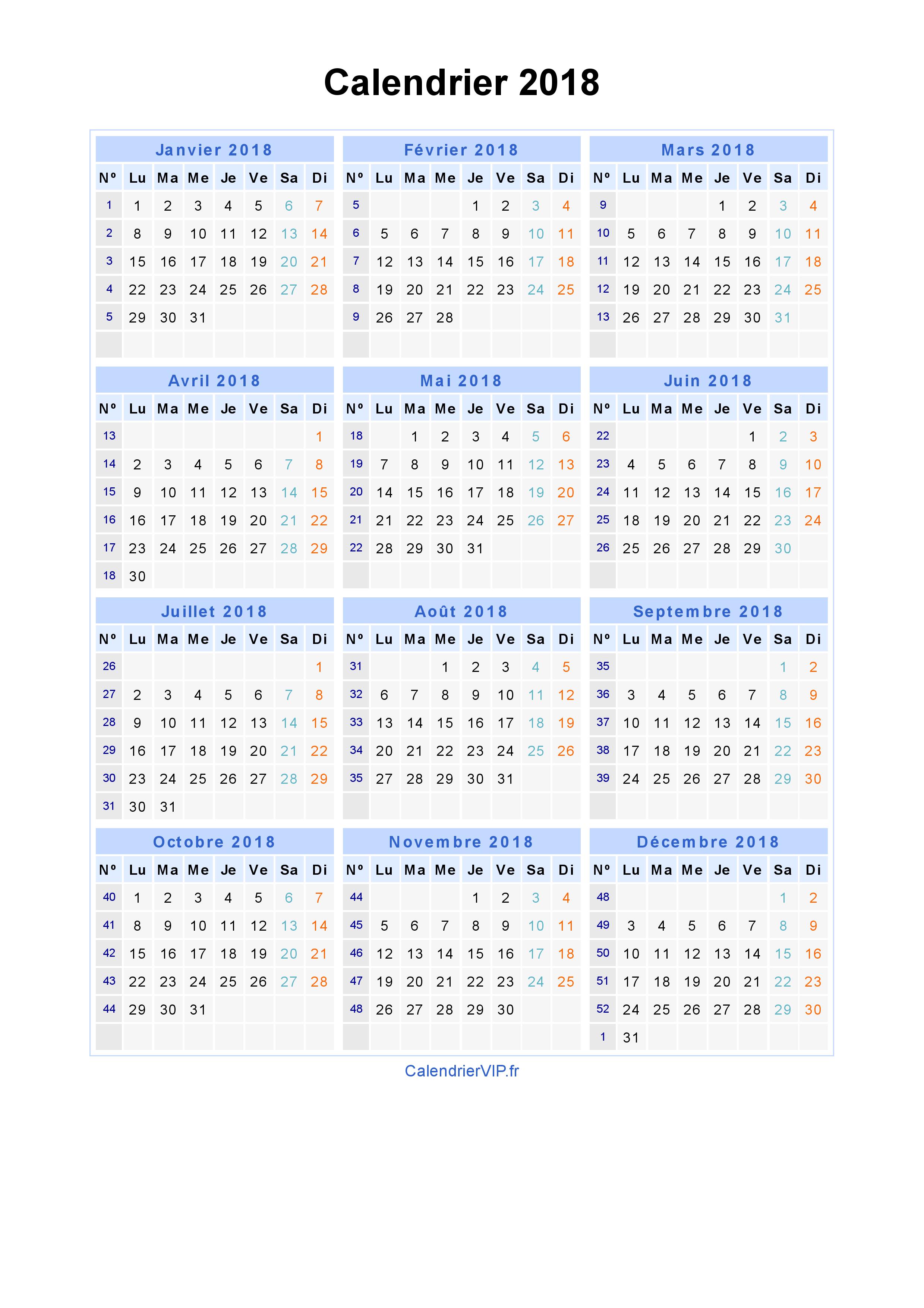 Extrêmement Calendrier 2018 à imprimer gratuit en PDF et Excel DX98