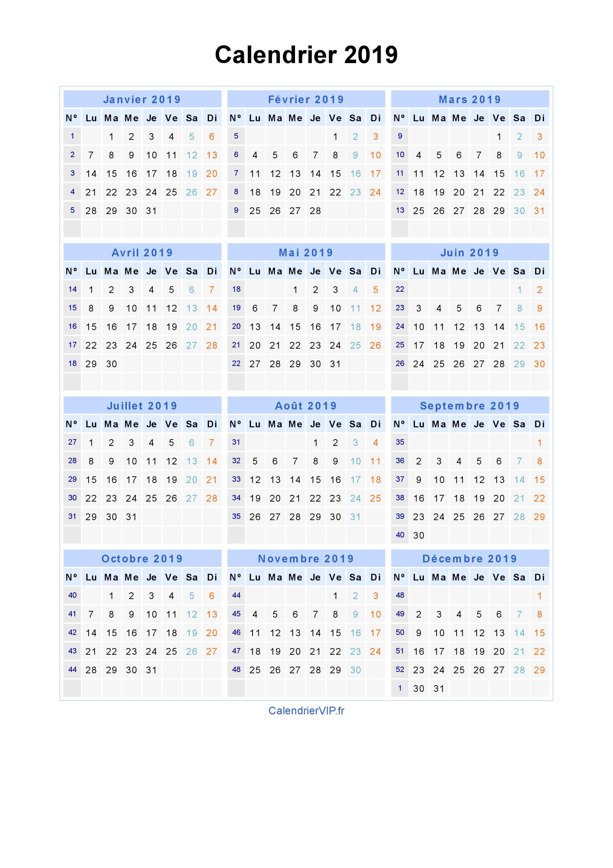 Petit Calendrier 2019.Calendrier 2019 A Imprimer Gratuit En Pdf Et Excel
