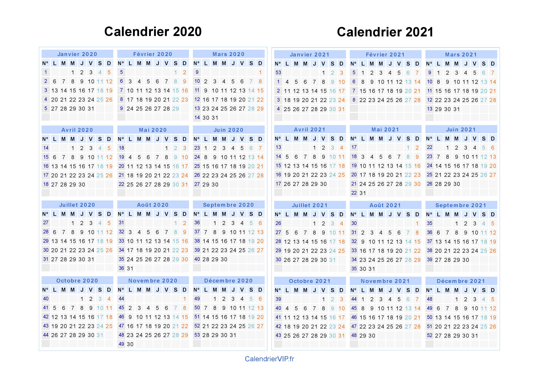 Calendrier De Septembre 2020.Calendrier 2020 2021 A Imprimer Gratuit En Pdf Et Excel