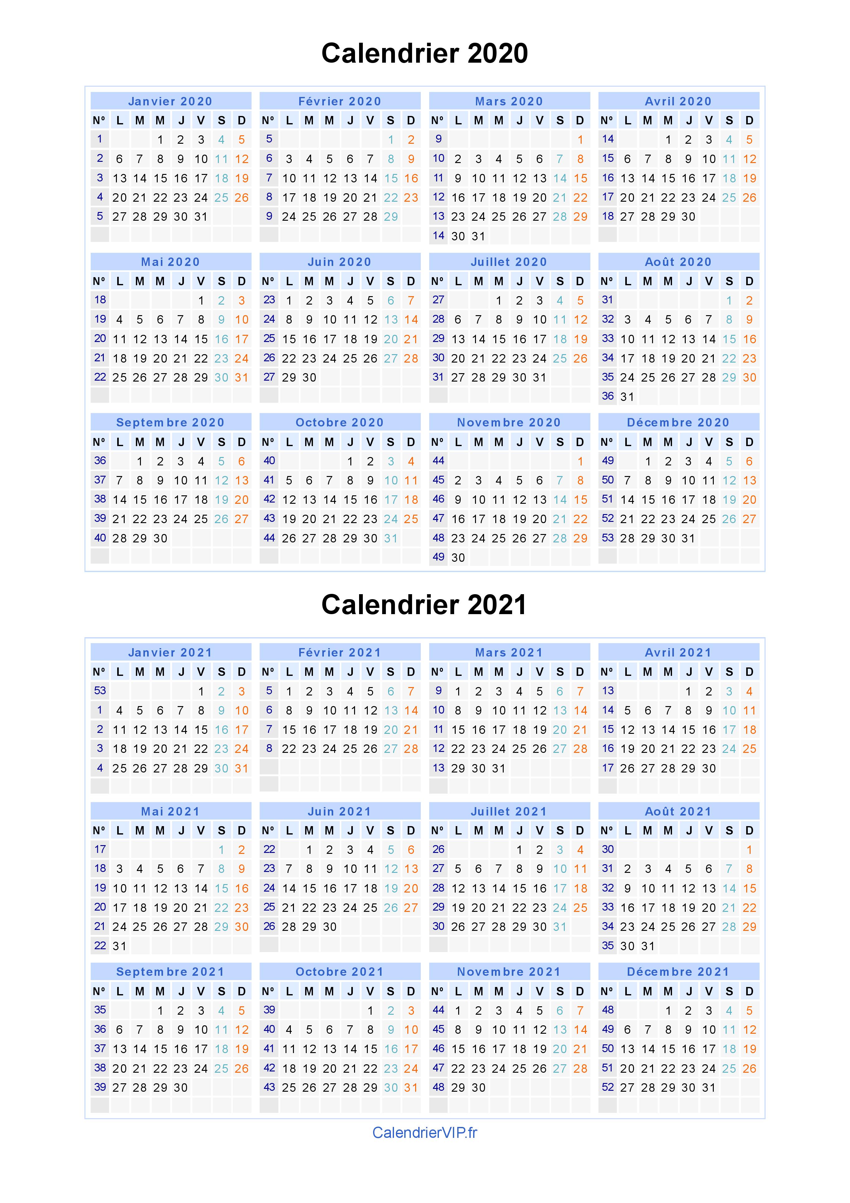 Calendrier 2020 Et 2020 Avec Vacances Scolaires.Calendrier 2020 2021 A Imprimer Gratuit En Pdf Et Excel