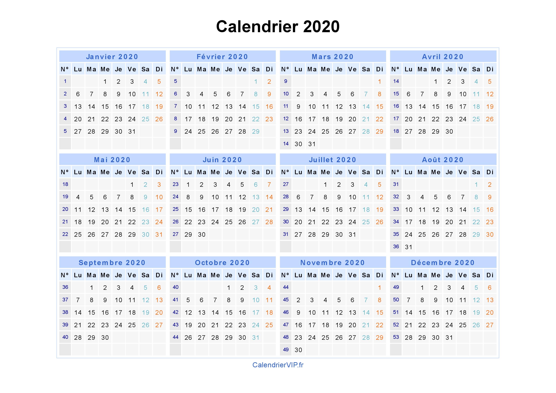 Calendrier 2020 Vierge.Calendrier 2020 A Imprimer Gratuit En Pdf Et Excel