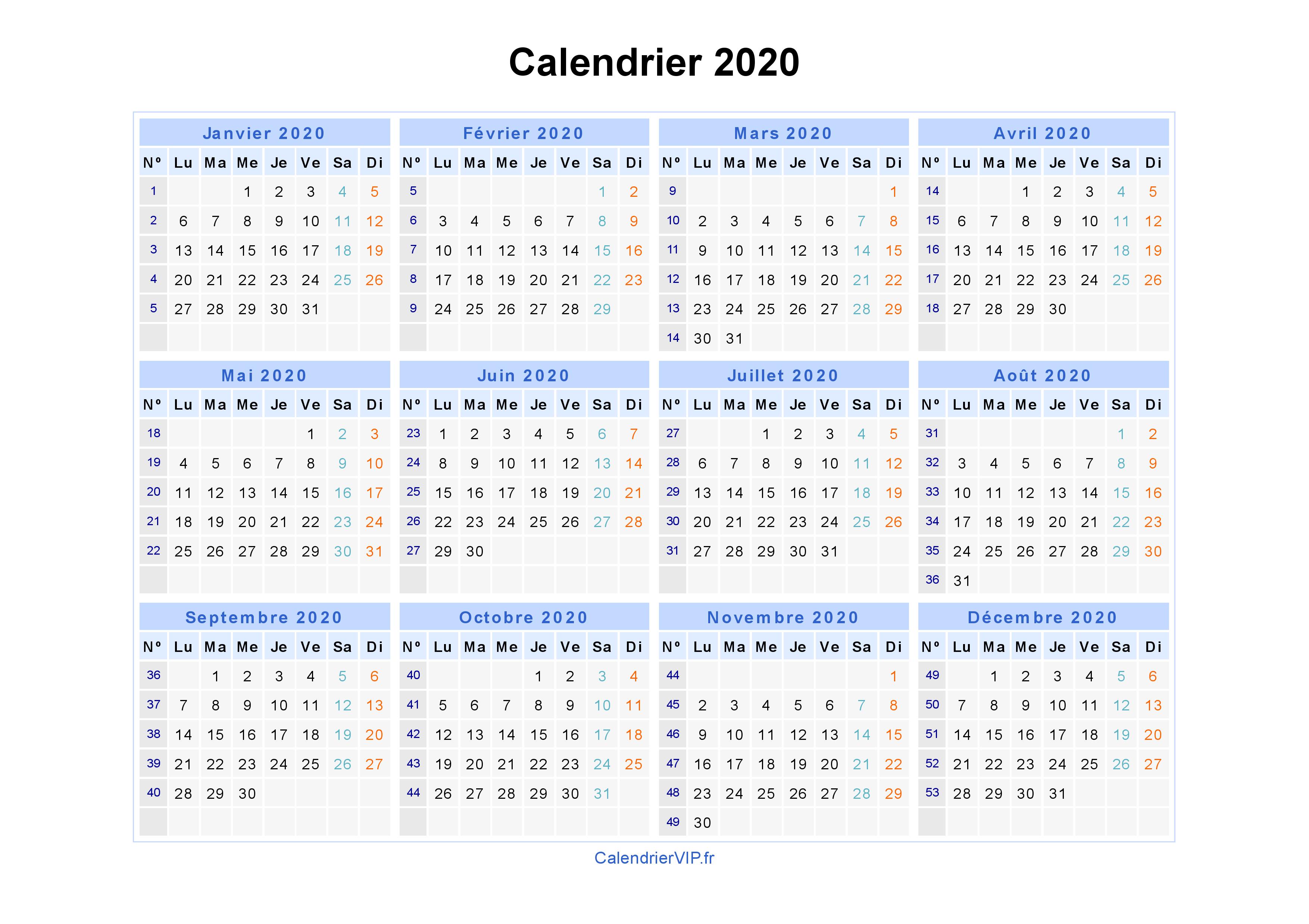 Calendrier 2020 Deuxieme Semestre.Calendrier 2020 A Imprimer Gratuit En Pdf Et Excel