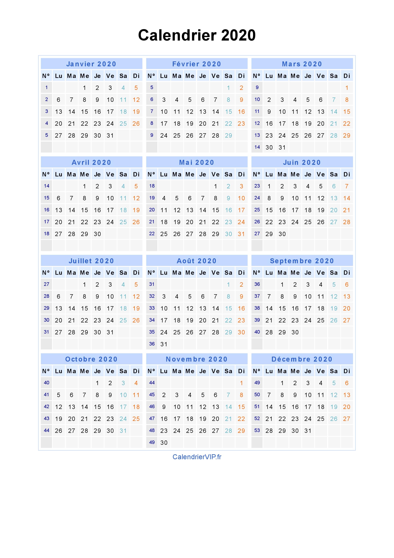 Calendrier 2020 Avec N0 De Semaine.Calendrier 2020 A Imprimer Gratuit En Pdf Et Excel