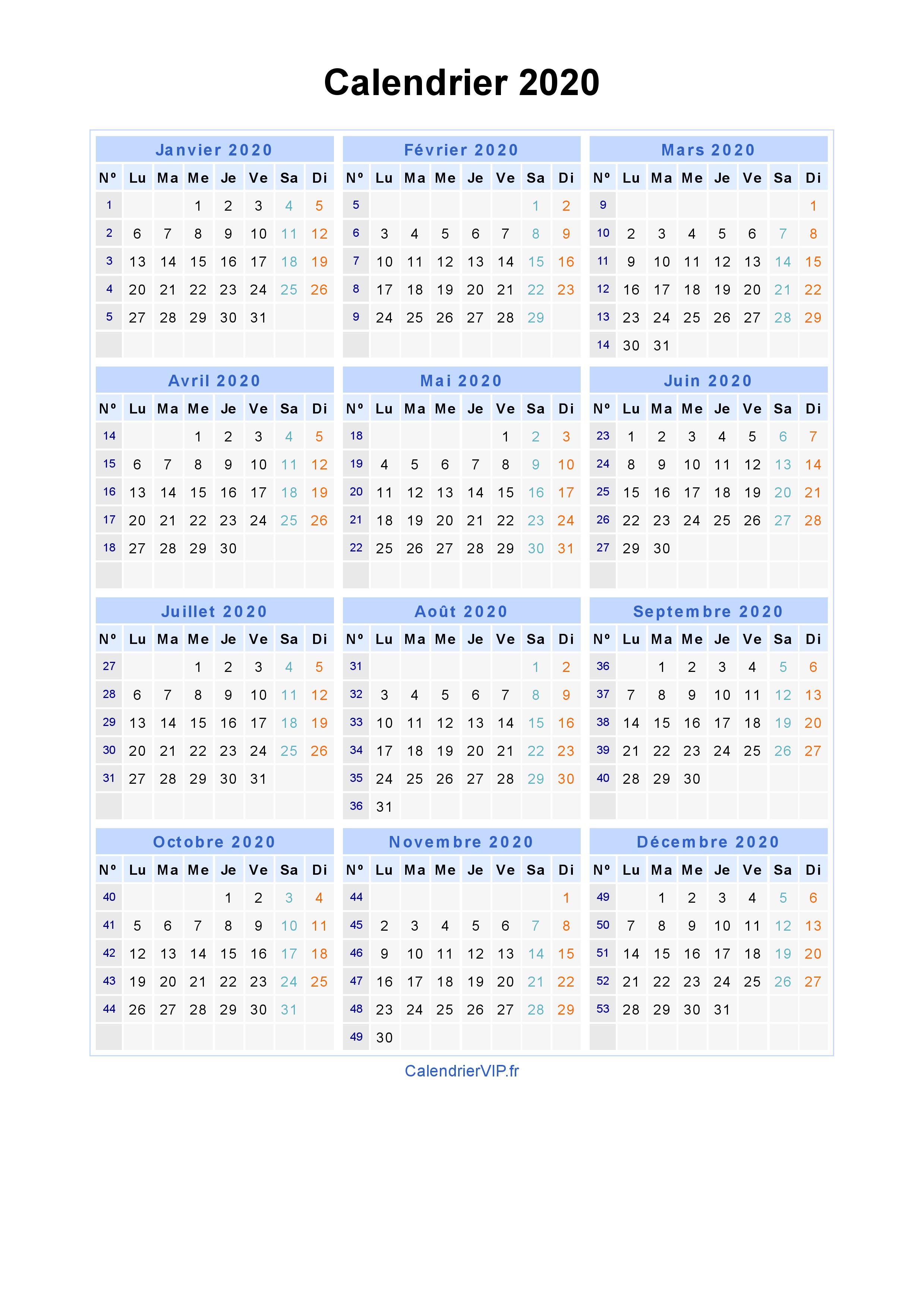 Calendrier 2020 Avec Jour Ferie.Calendrier 2020 A Imprimer Gratuit En Pdf Et Excel