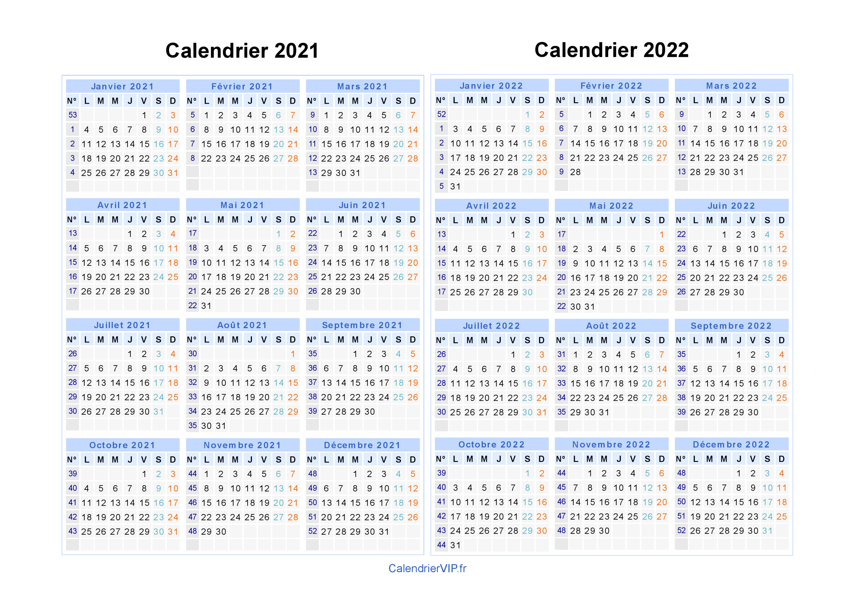 Calendrier 2021 2022 2021 Calendrier 2021 2022 à imprimer gratuit en PDF et Excel