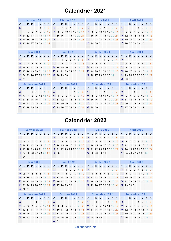 Calendrier 2021 2022 à Imprimer Calendrier 2021 2022 à imprimer gratuit en PDF et Excel