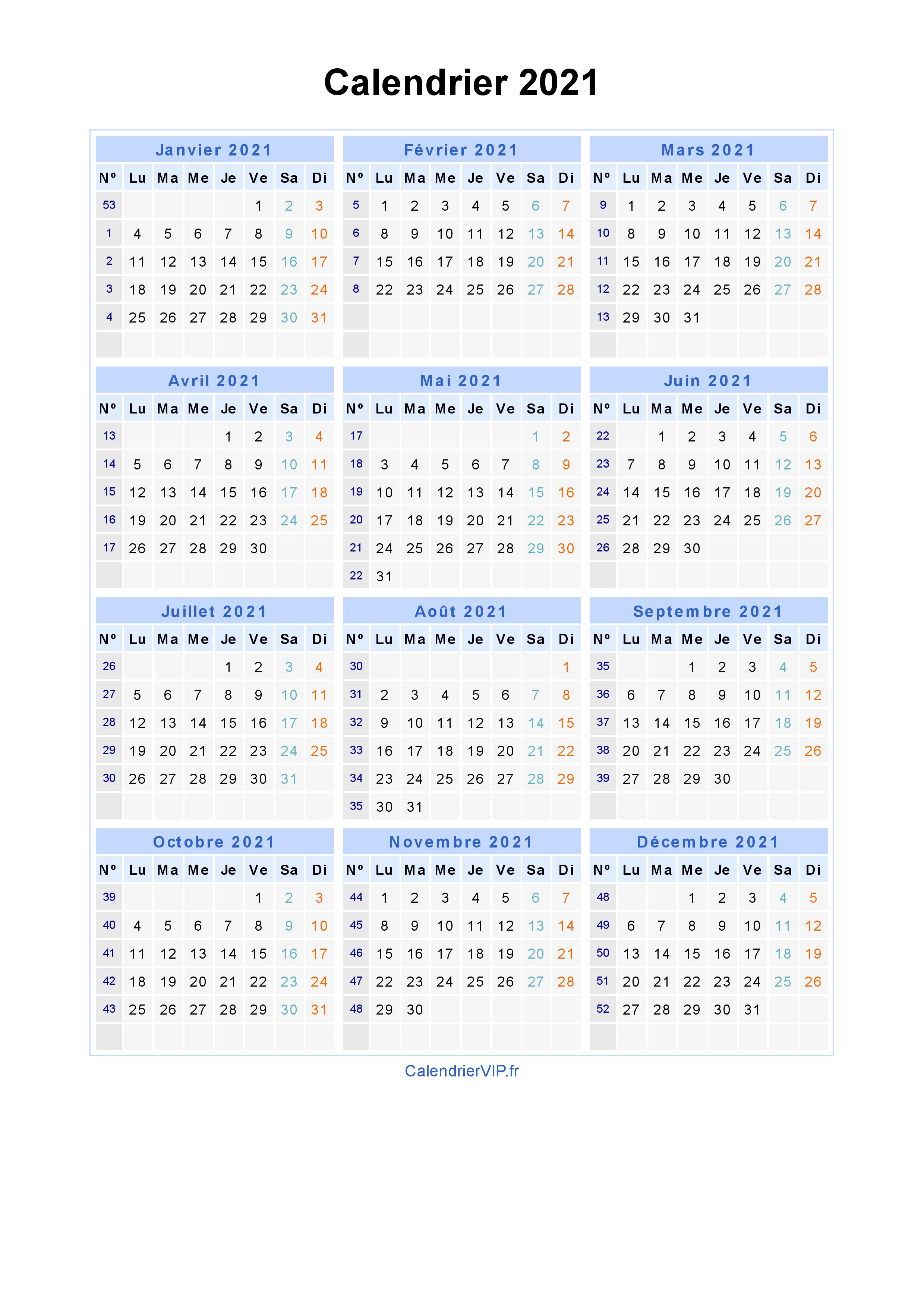 Calendrier 2021 à imprimer gratuit en PDF et Excel
