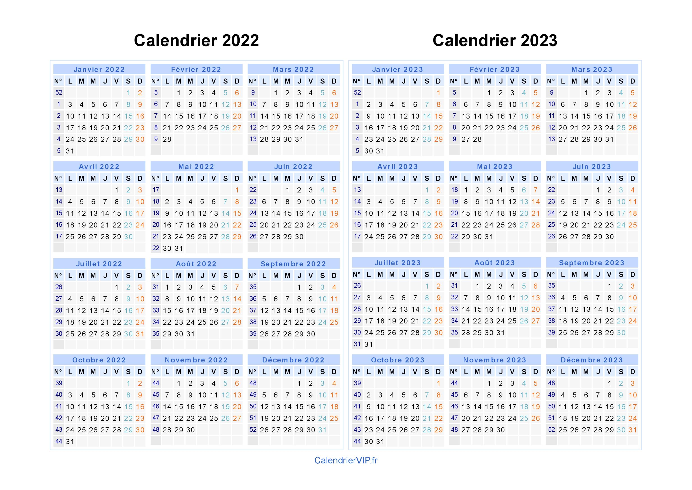 Calendrier 2022 2023 Calendrier 2022 2023 à imprimer gratuit en PDF et Excel
