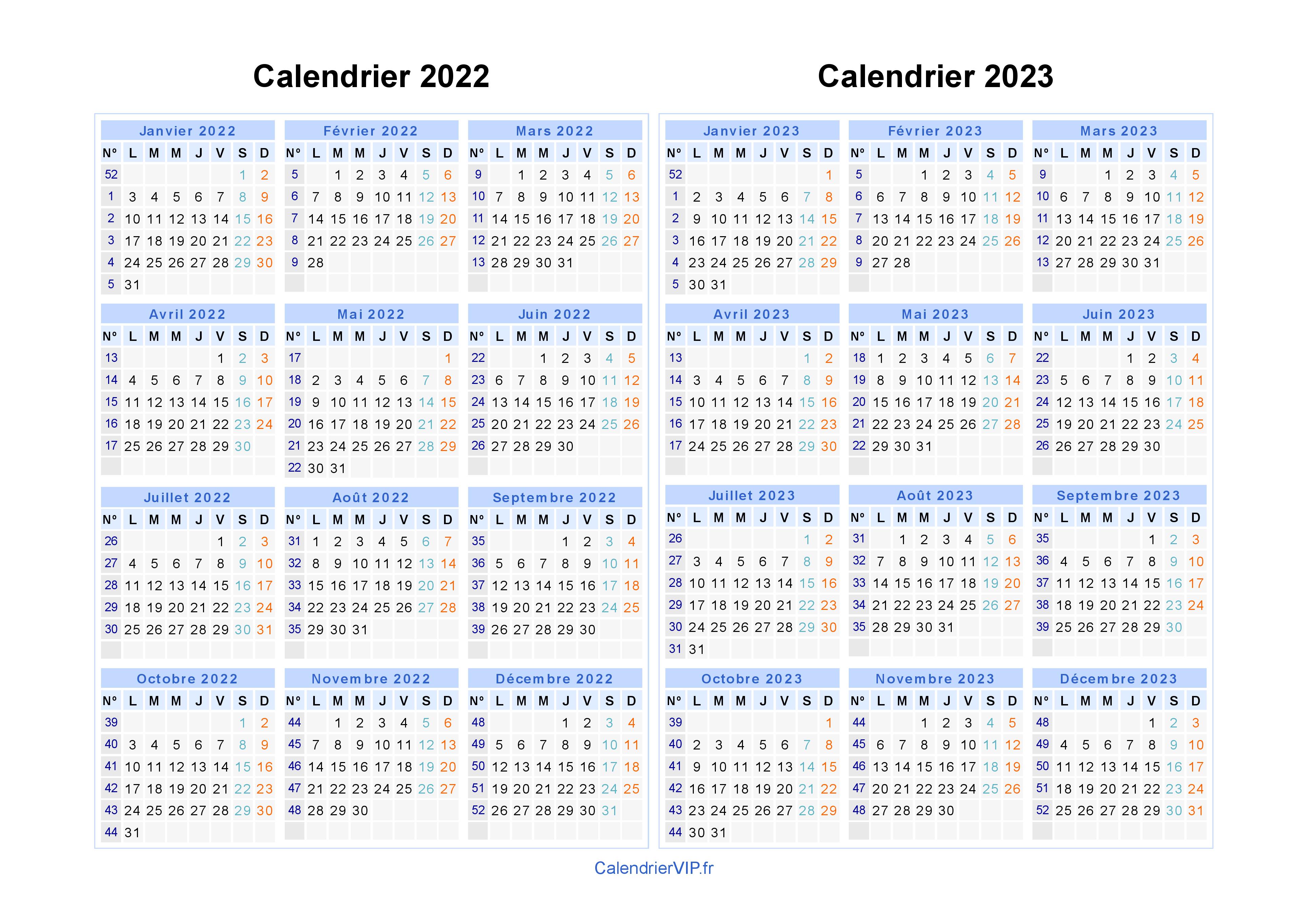 Calendrier Excel 2022 2023 Calendrier 2022 2023 à imprimer gratuit en PDF et Excel