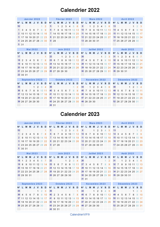 Calendrier 2022 2023 à Imprimer Calendrier 2022 2023 à imprimer gratuit en PDF et Excel