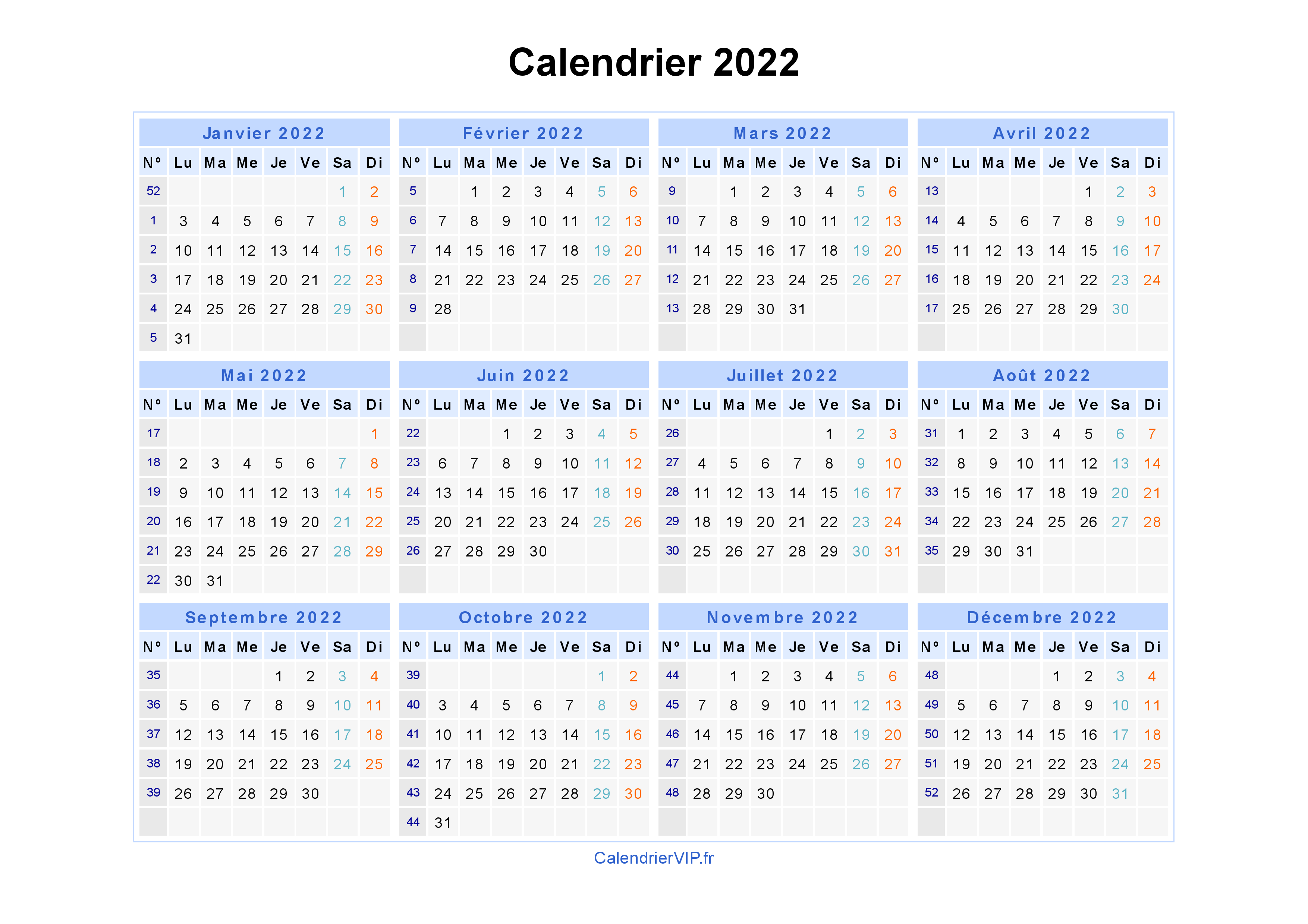 Calendrier 2022 à imprimer gratuit en PDF et Excel