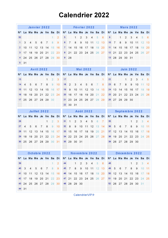 Calendrier 365.fr 2022 PDF Télécharger Calendrier 2022 Jours fériés 2022 Gratuit PDF