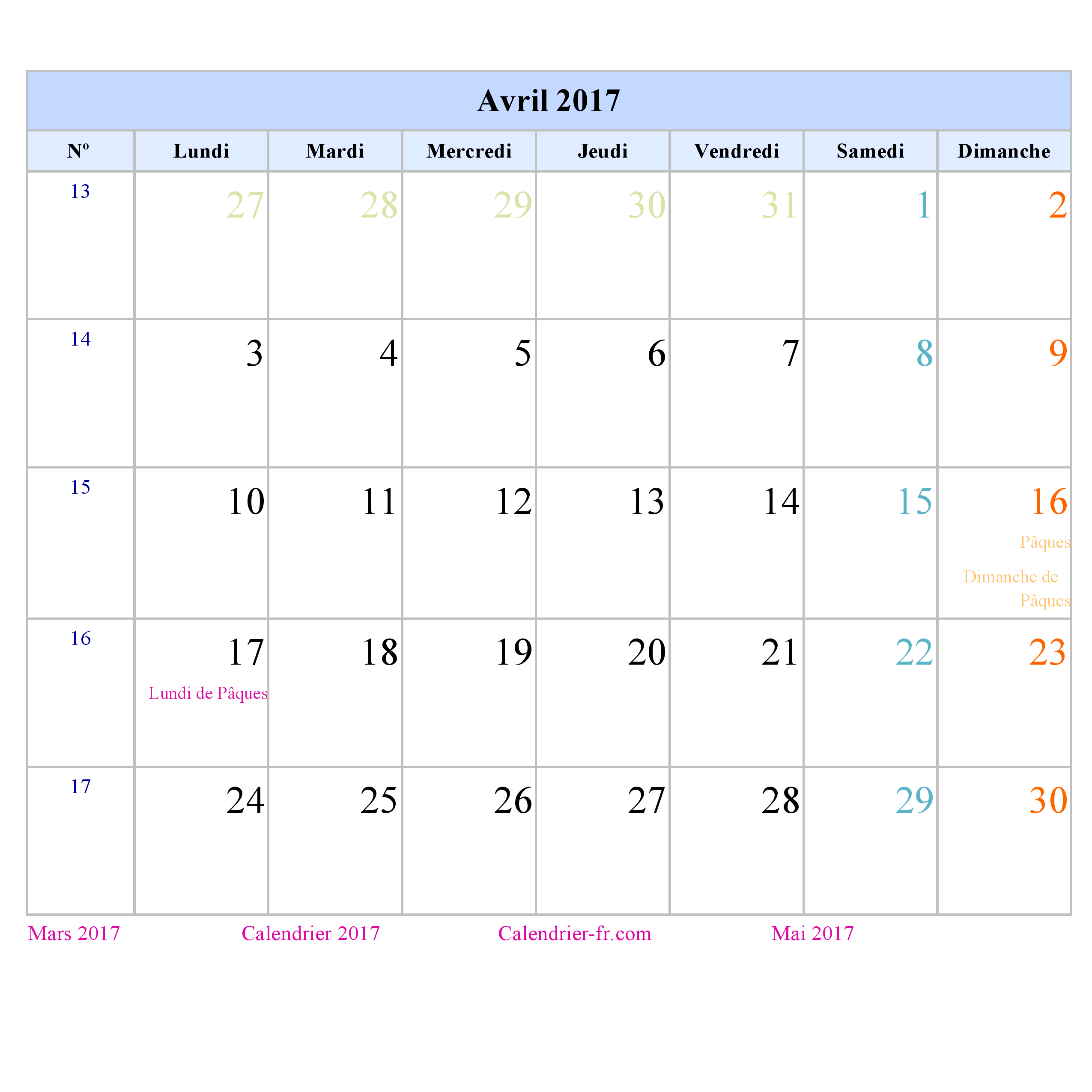 Calendrier avril 2017 imprimer gratuit en pdf et excel - Calendrier lunaire rustica avril 2017 ...