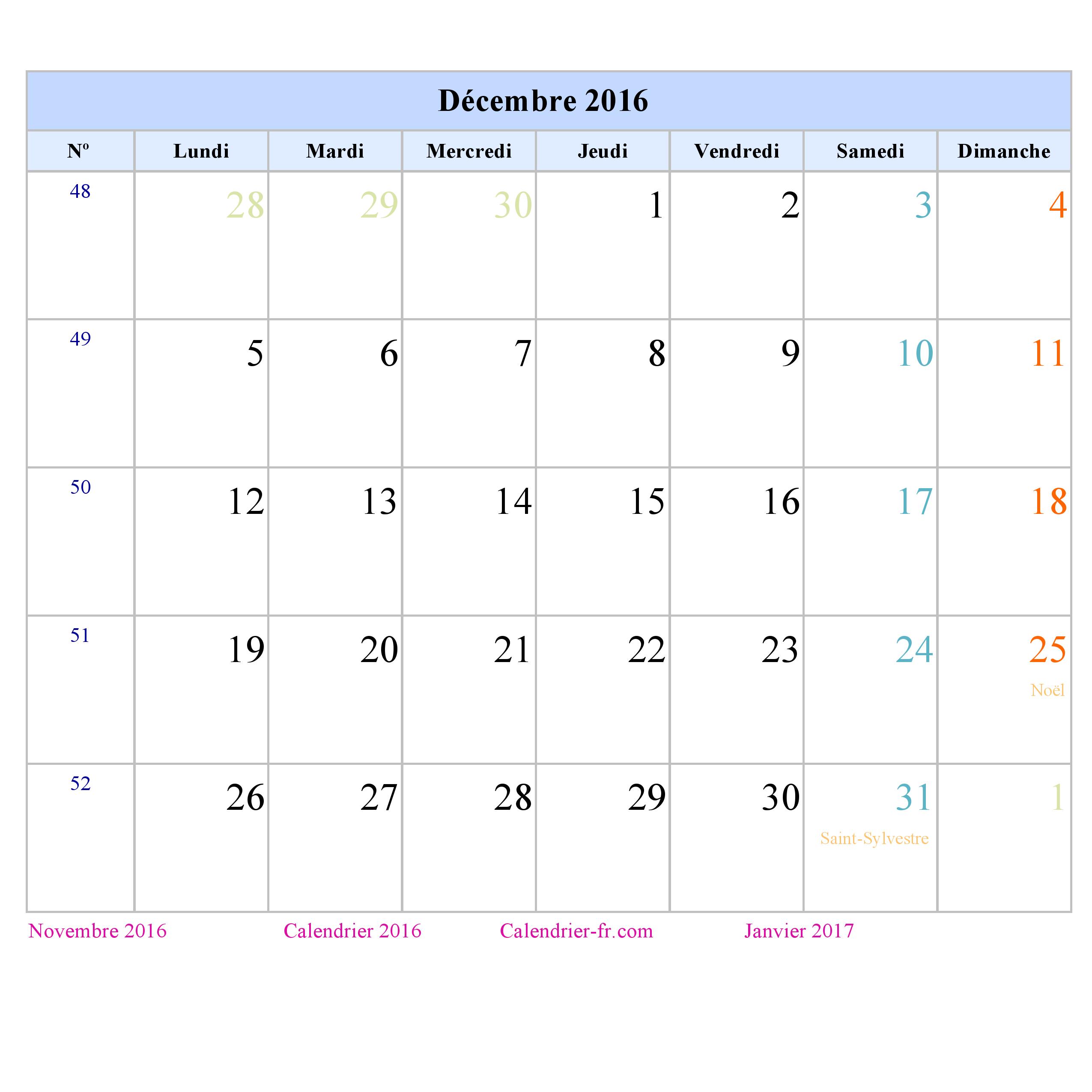 calendrier décembre 2016 à imprimer ou télécharger portrait