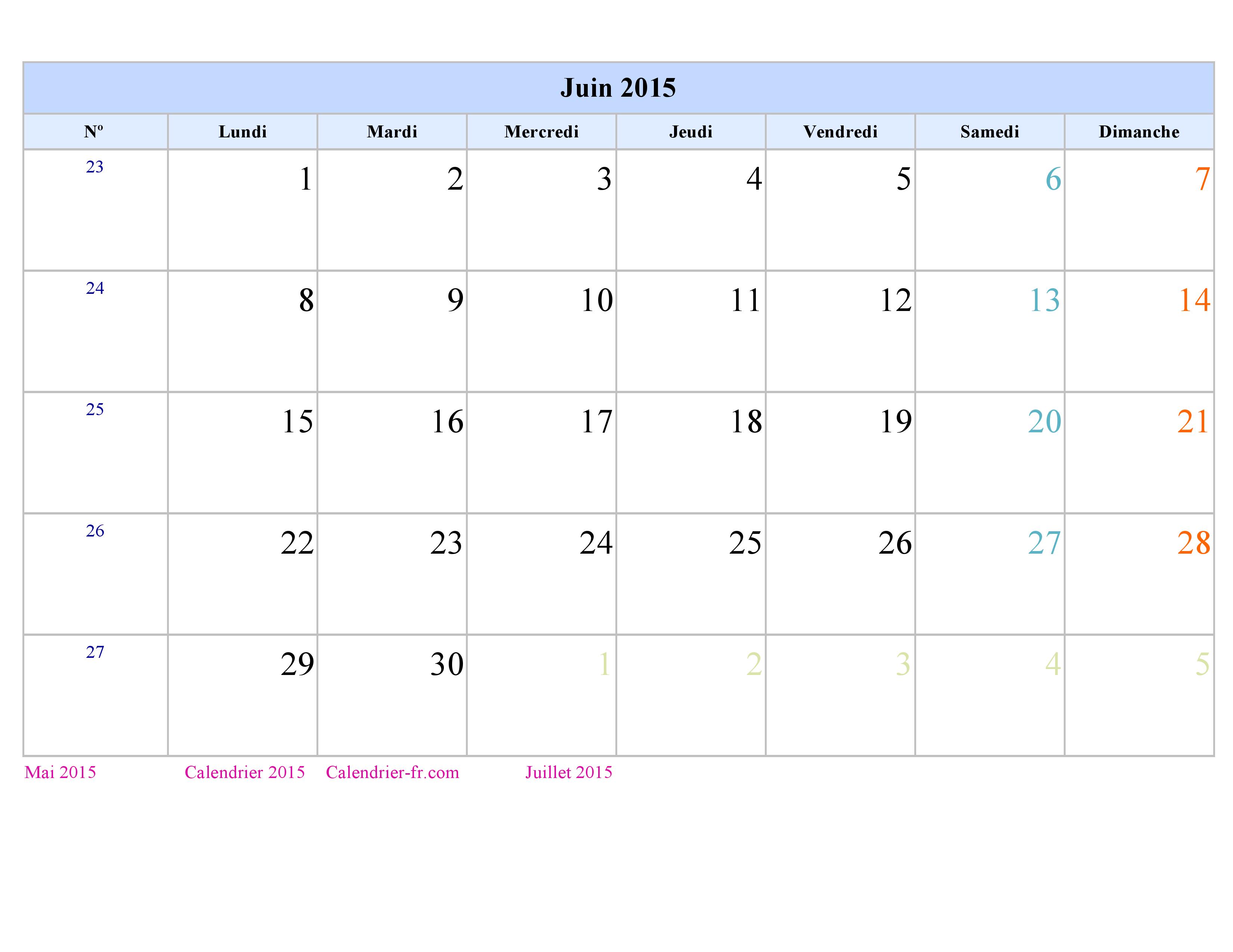 Calendrier juin 2015 imprimer gratuit en pdf et excel for Calendrier jardin juin 2015