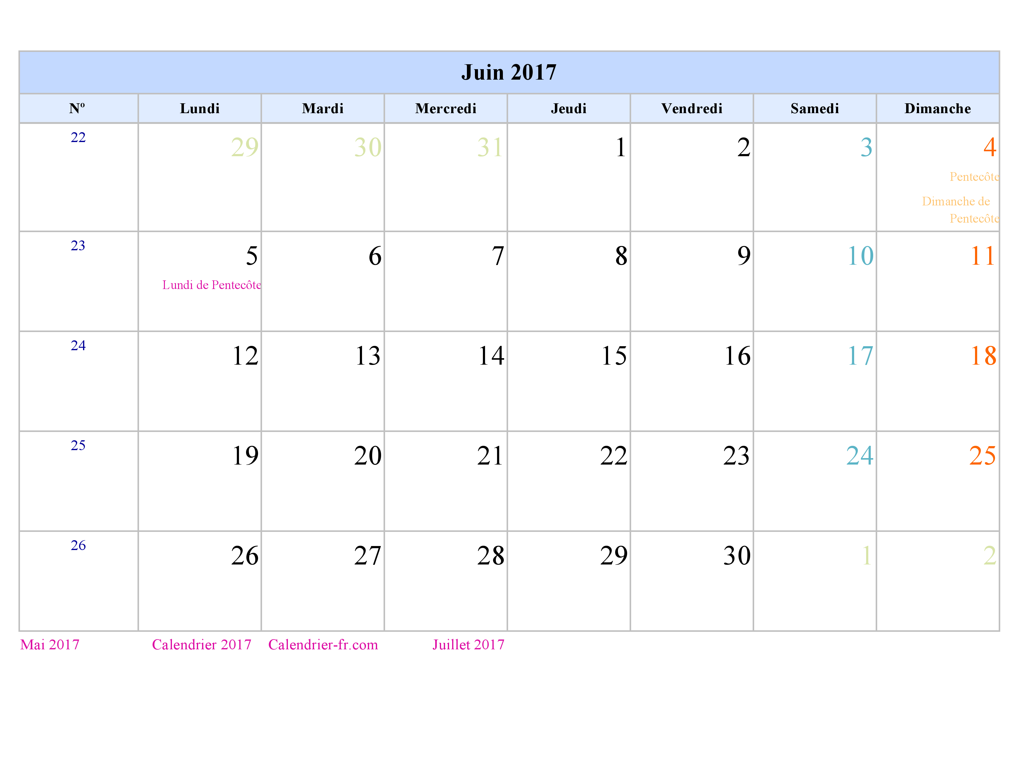Calendrier Juin 2017 à imprimer gratuit en PDF et Excel