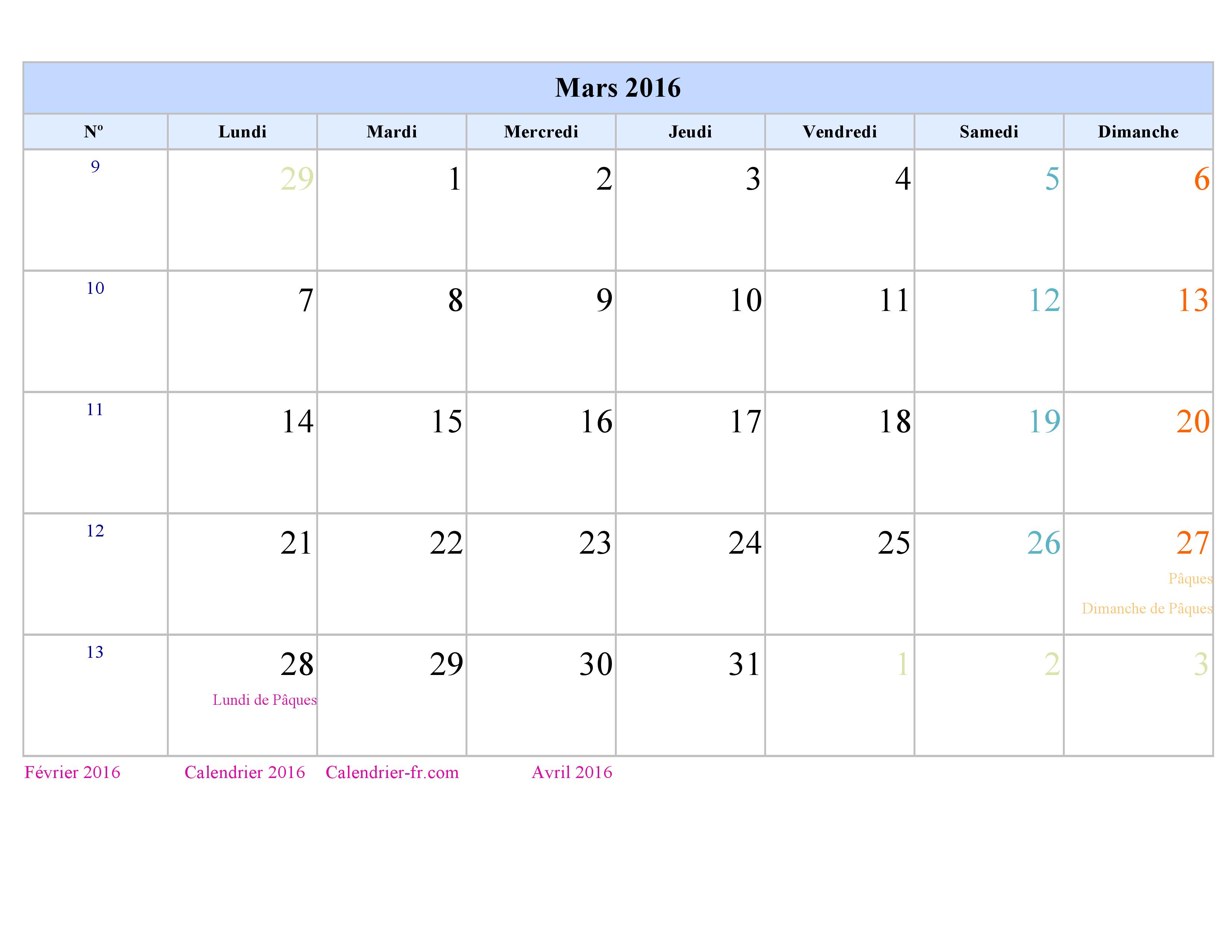 Calendrier Hebdomadaire 2016 A Imprimer   Calendar Template 2016