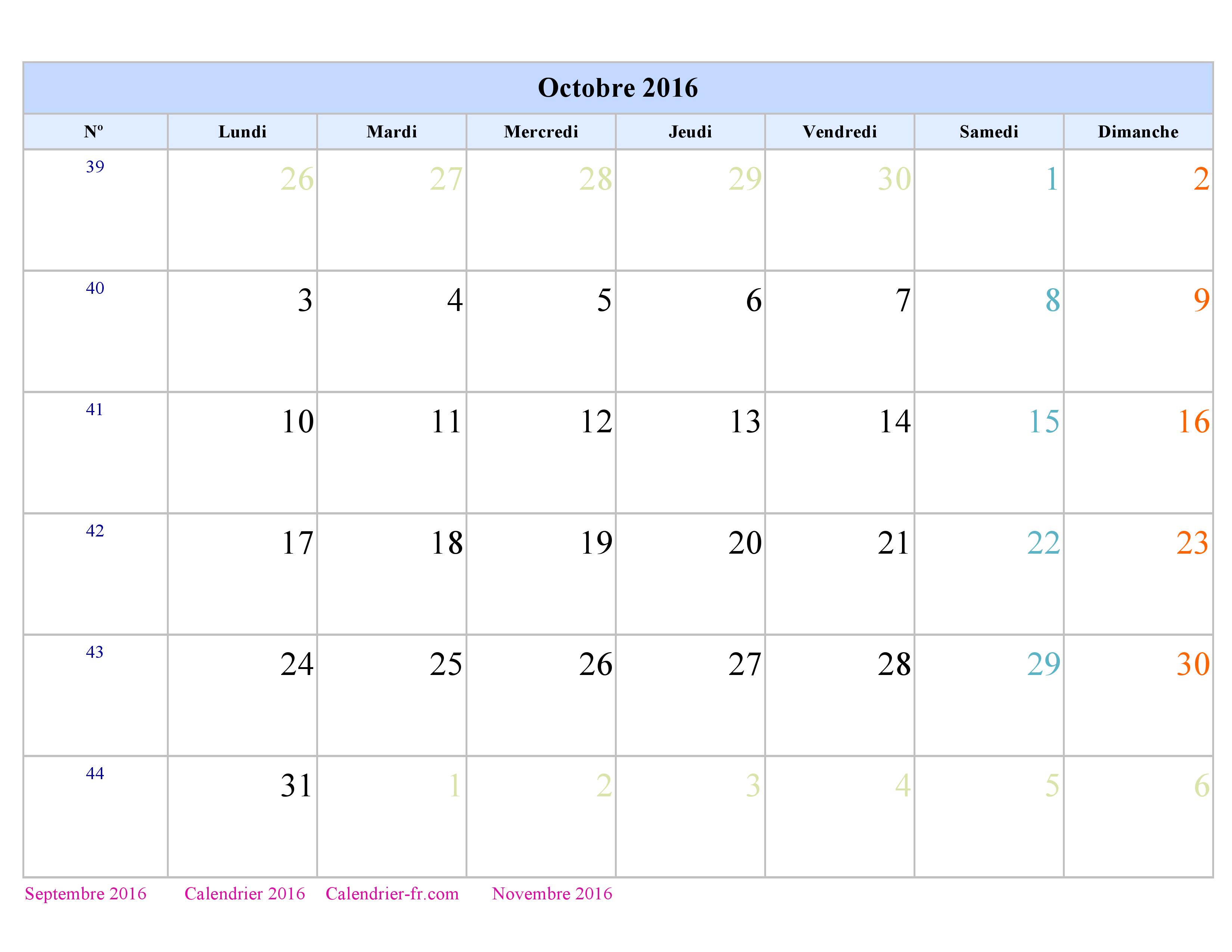 Calendrier Octobre 2016 à imprimer gratuit en PDF et Excel