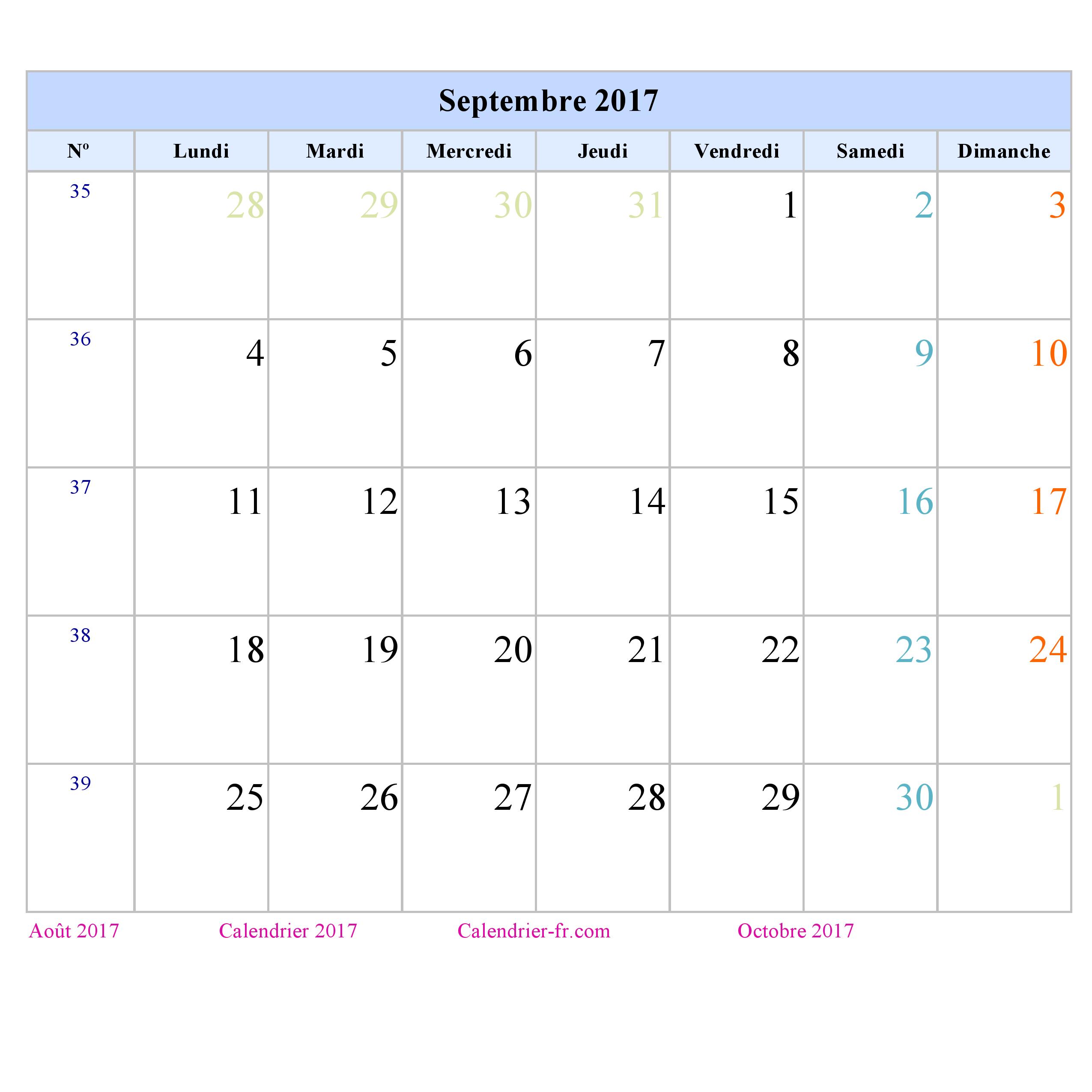 Calendrier Septembre 2017 à imprimer gratuit en PDF et Excel