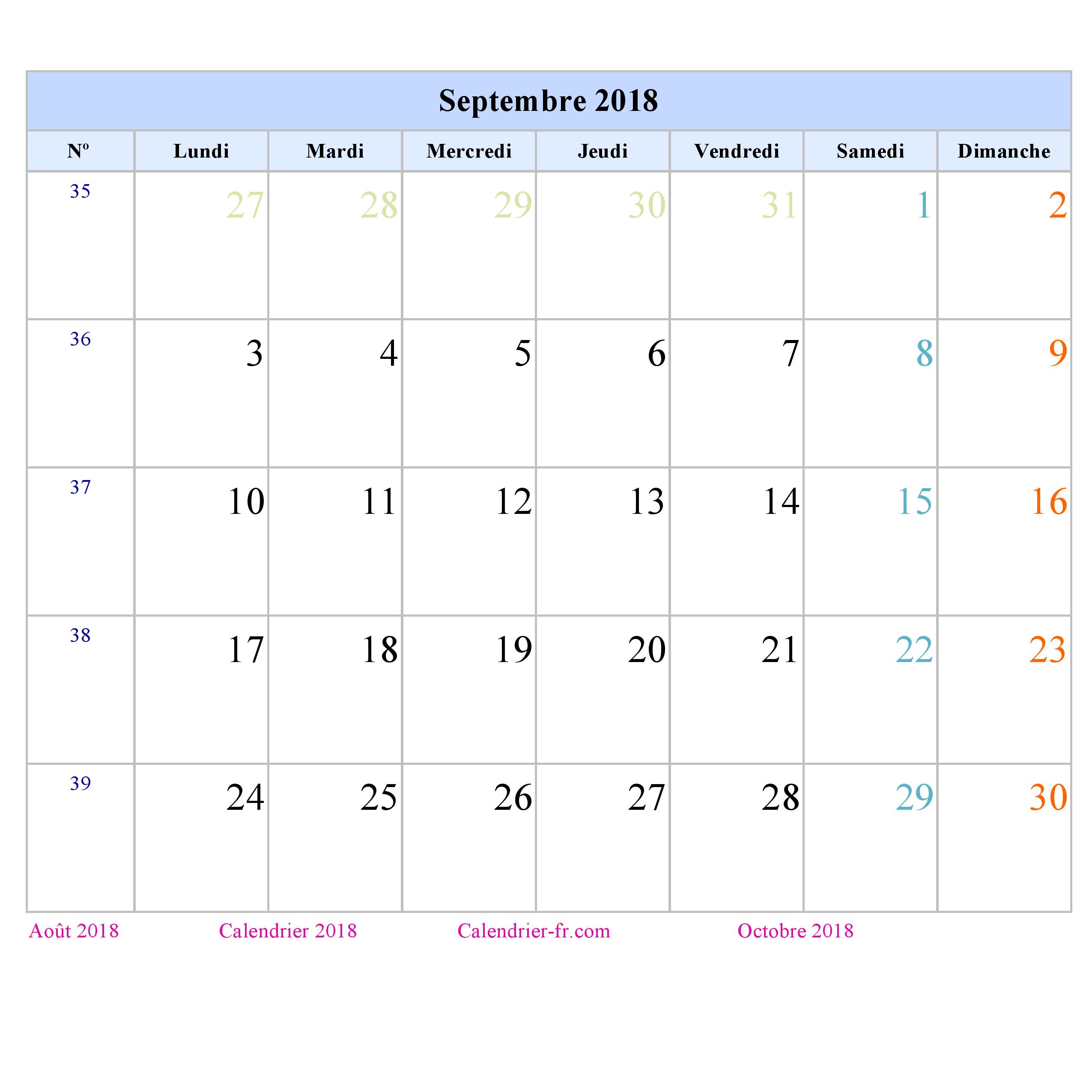 Calendrier septembre 2018 imprimer gratuit en pdf et excel - Calendrier lune septembre 2017 ...