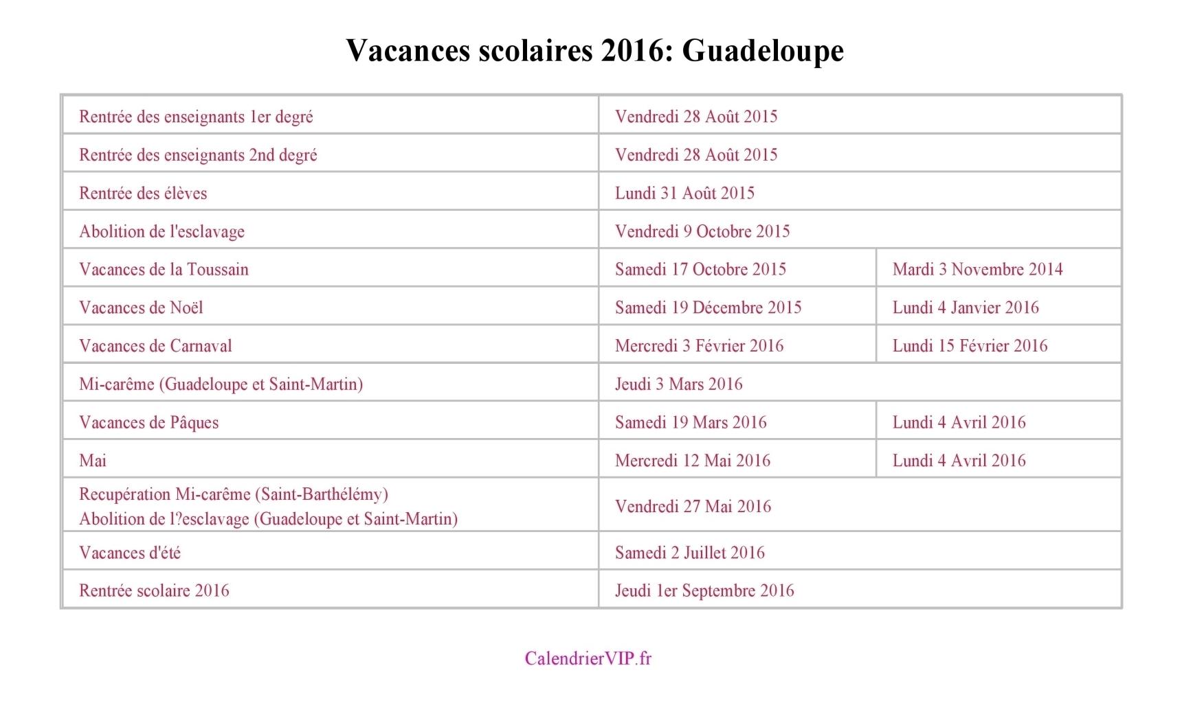 calendrier scolaire guadeloupe